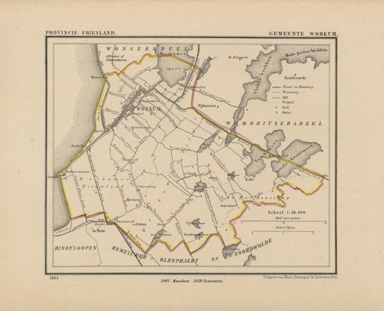Historische kaart, plattegrond van gemeente Workum in Friesland uit 1867 door Kuyper van Kaartcadeau.com