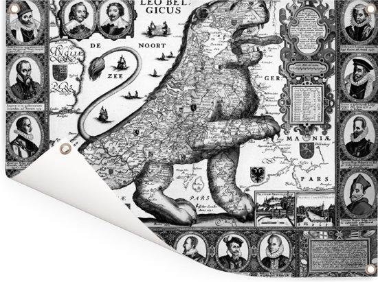 Historische zwart wit landkaart van het oude Nederland Tuinposter 160x120 cm - Tuindoek / Buitencanvas / Schilderijen voor buiten (tuin decoratie) XXL / Groot formaat!