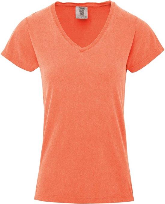 Basic V-hals t-shirt comfort colors oranje voor dames - Dameskleding t-shirt perzik oranje M (38/50)