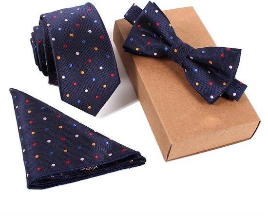 Luxe 3 Delige Set Vlinderdas Stropdas Pochet Donker Blauw Met Stippen One Size Bruiloft Cadeau