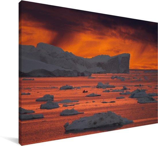 IJsfjord van Ilulissat zonsondergang Canvas 180x120 cm - Foto print op Canvas schilderij (Wanddecoratie woonkamer / slaapkamer) XXL / Groot formaat!