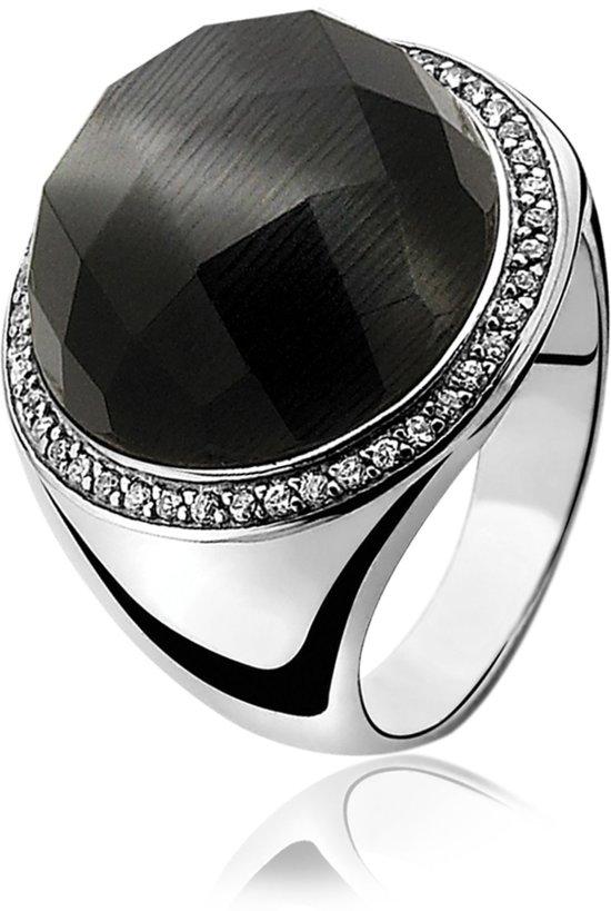 Zinzi - Zilveren Ring - Zwarte Cateye - Zirkonia - Maat 62 (ZIR802-62)