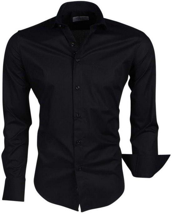 Ferlucci - Trendy Italiaans Effen Heren Overhemd - Napoli - Zwart