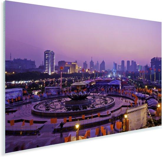 Paarse tinten in en boven de Chinese stad Jinan Plexiglas 180x120 cm - Foto print op Glas (Plexiglas wanddecoratie) XXL / Groot formaat!