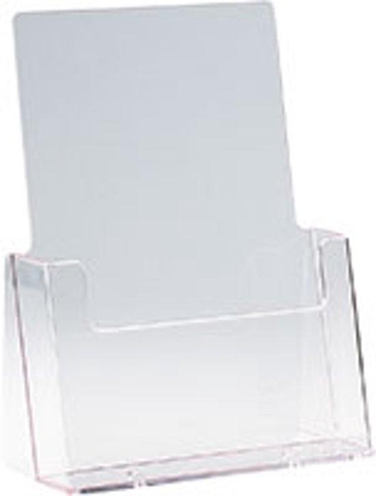 Brochurehouder voor op tafel, 1 vak, doorzichtig, stabieles Polystyrol, DIN A5