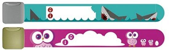 Infoband polsbandjes - Set van 2 SOS naambandjes voor kinderen - 1 x Haaien en 1 x Uiltjes