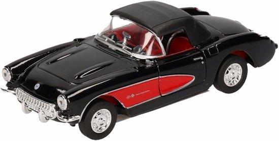 Speelgoed modelauto zwarte Chevrolet Corvette dichte cabrio 12 cm
