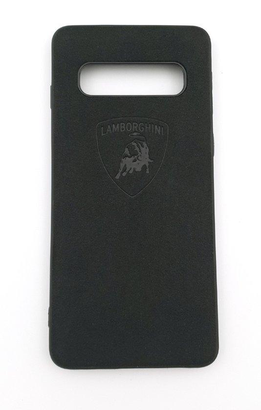 Lamborghini Leather Case geschikt voor Samsung S10 - Zwart Lederen telefoonhoesje