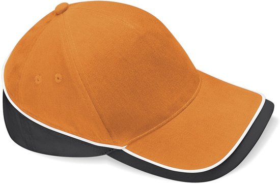 Beechfield Competition Cap Orange/Black/White