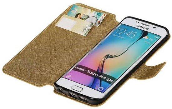 Mobieletelefoonhoesje.nl - Samsung Galaxy S6 Edge Cover Cross Pattern TPU Bookstyle Goud in Tonden