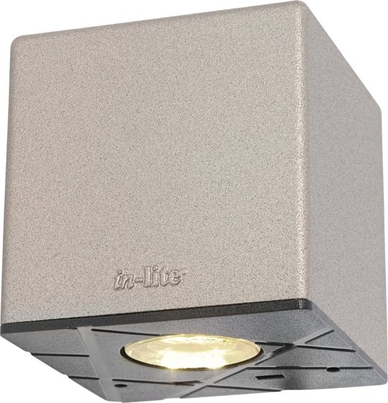 in-lite Gevelverlichting CUBID Wall 12V/0,5W LED Alu. rose silver Warm White.