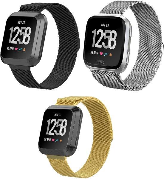 3-Pack Set Milanees Horloge Band Voor de Fitbit Versa - Milanese Watchband Sportbandje - Armband  Strap Polsband RVS - Large - Goud/Zilver/Zwart Kleurig - Small