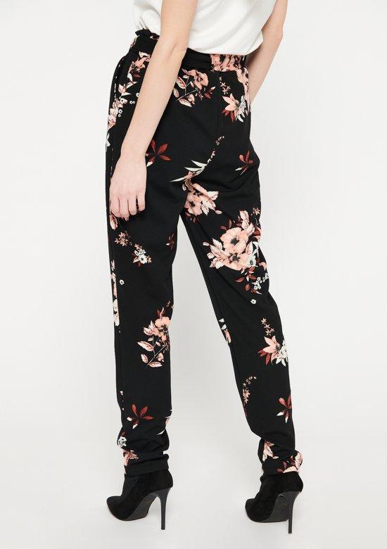 Losse broek met bloemenprint - Zwart