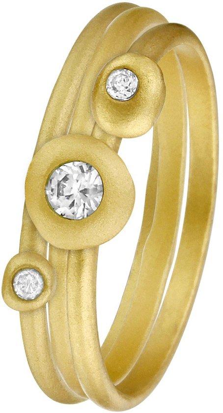 Eve Vintage Gold Plated Set 3 Ringen - Met Zirkonia - Maat 50