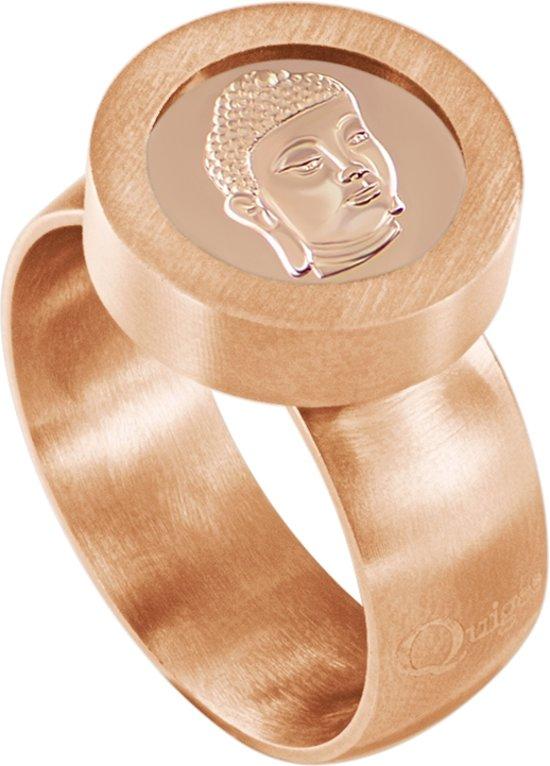 Quiges RVS Schroefsysteem Ring Rosékleurig Mat 17mm met Verwisselbare Rosé Boeddha 12mm Mini Munt