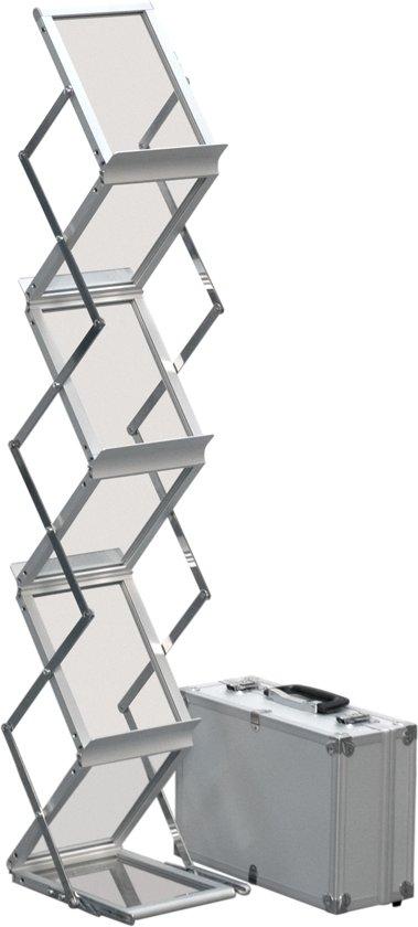 brochurehouder van geanodiseerd aluminium en poeder gecoat staal A5 formaat zilver