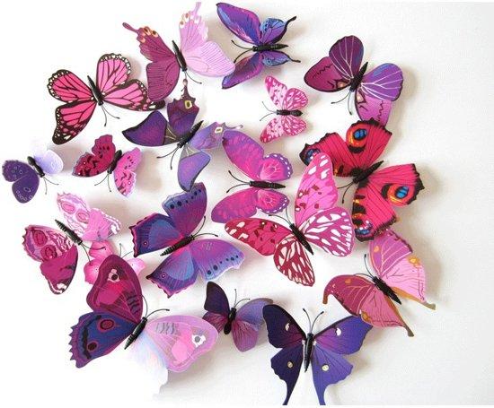 3D Vlinders Muursticker / Muurdecoratie Voor Kinderkamer / Babykamer ...