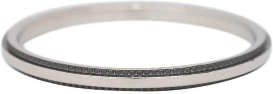 iXXXi Jewelry Vulring 2mm Double Gear zilverkleurig en zwart - maat 17