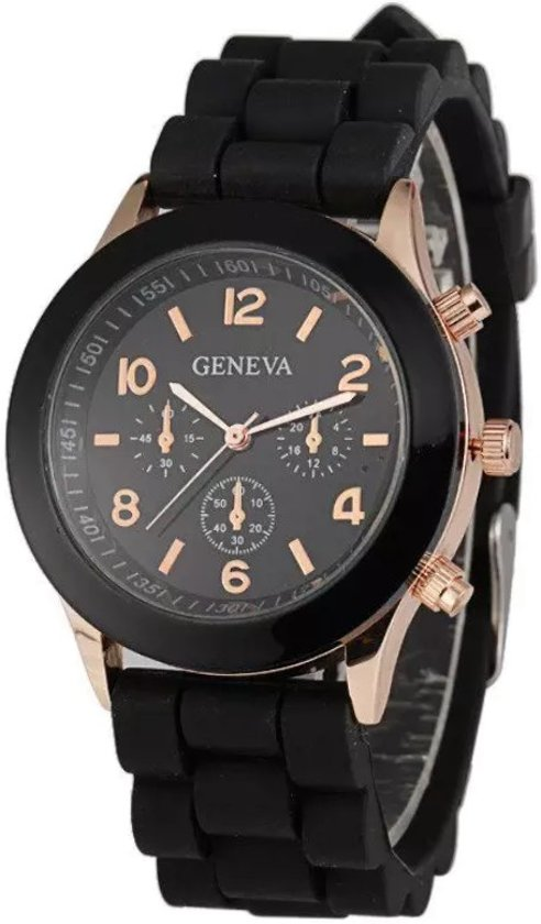 Fako Bijoux® - Horloge - Geneva - Siliconen Candy - Zwart