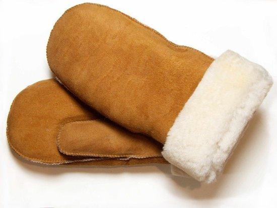 Bruine Lammy wanten suede voor volwassenen - Handschoenen schapenwol 6 (M - 15 cm)