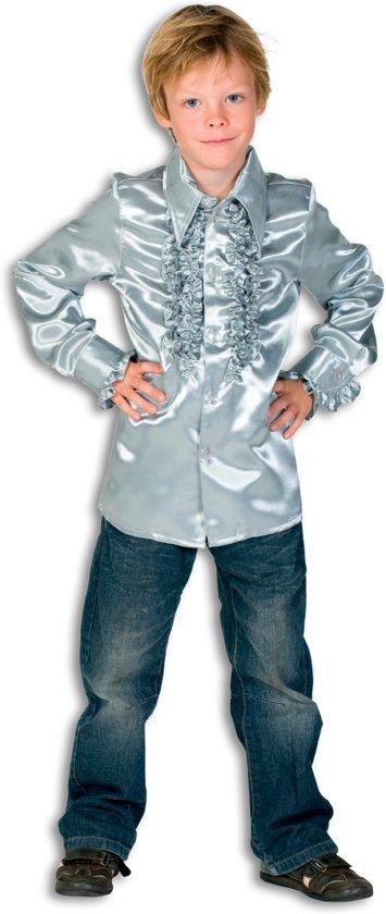Ruches blouse satijn zilver