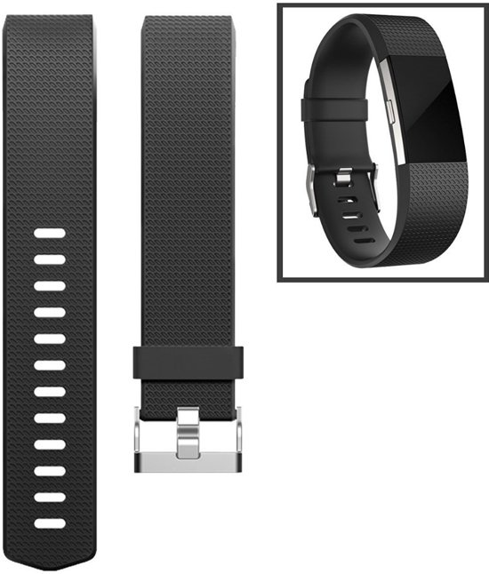 Bandje Large Voor de Fitbit Charge 2 - Siliconen Armband / Polsband / Strap Band / Sportband - Zwart