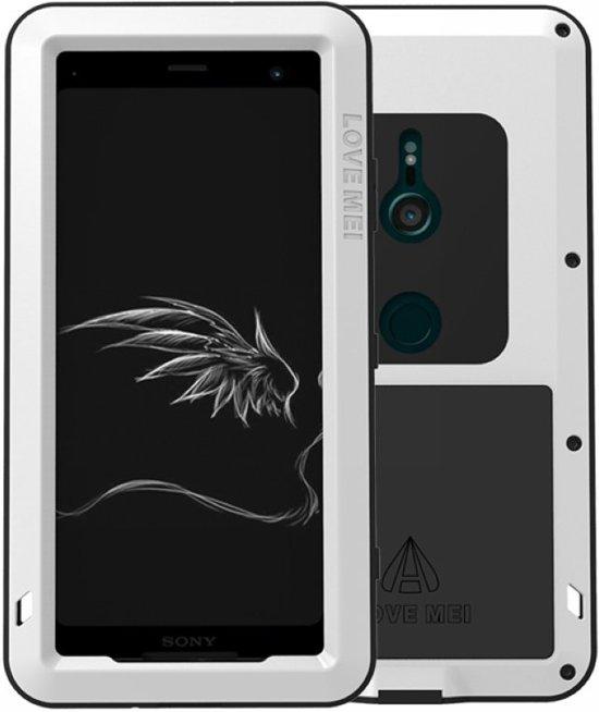 Metalen fullbody hoes voor Sony Xperia XZ3, Love Mei, metalen extreme protection case, zwart-wit