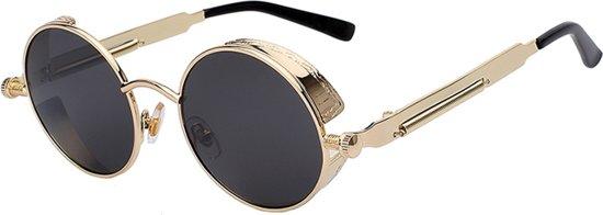 003b78a129f3af Steampunk ronde zonnebril zwart vintage - ronde glazen - goud montuur  festival
