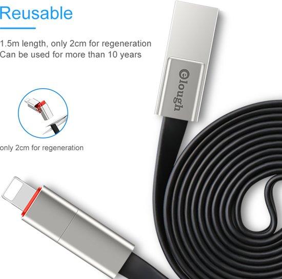 Elough Renewable Fast Charge Apple Lightning - Snel Oplaad Kabel QC 3.0 USB  Telefoon Oplader USB Kabel - Knip & Verleng