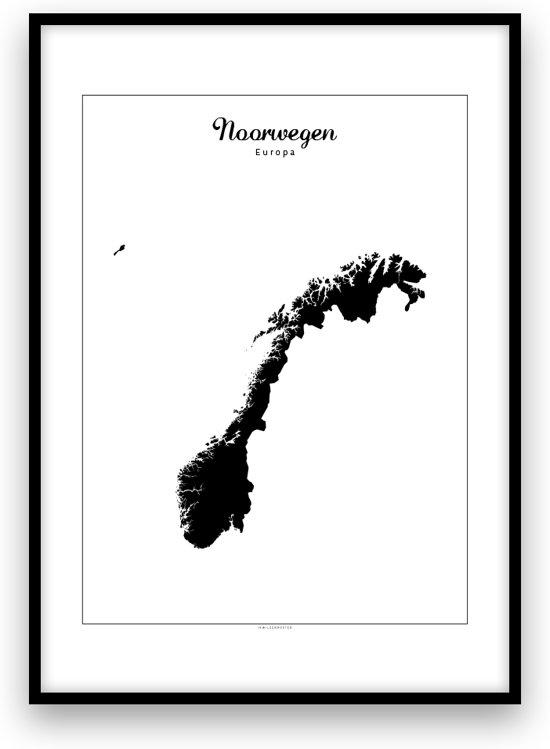 Noorwegen landposter - Zwart-wit