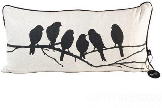 Ferm Living Kussen : Bol lovebirds kussen ferm living zwart