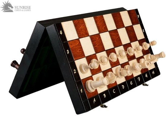 Sunrise Magnetisch - Luxe schaakspel schaakbord 40X40 cm. (Hout)