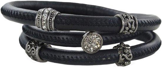 Quiges - Klaargemaakte Leren Wikkelarmband 60cm + Aanschuif Charm Bedels Set #4