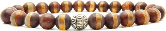 Beaddhism - Armband - Dzi Striped Brown - Gosha - 8 mm - 20 cm