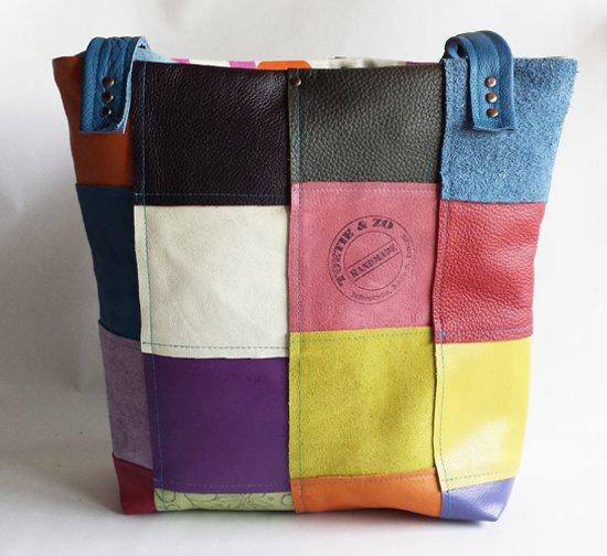 9377642e5ef Toetie & Zo Handgemaakte leren Tas Shopper Patchwork multicolor