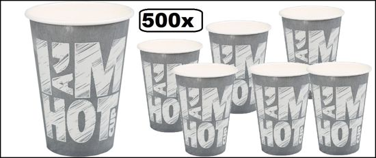 500x Koffiebeker I am Hot chalk 180cc  grijs
