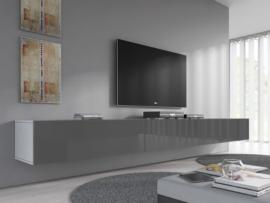 Meubella Tv Meubel Flame Grijs Wit 300 Cm 3x 100