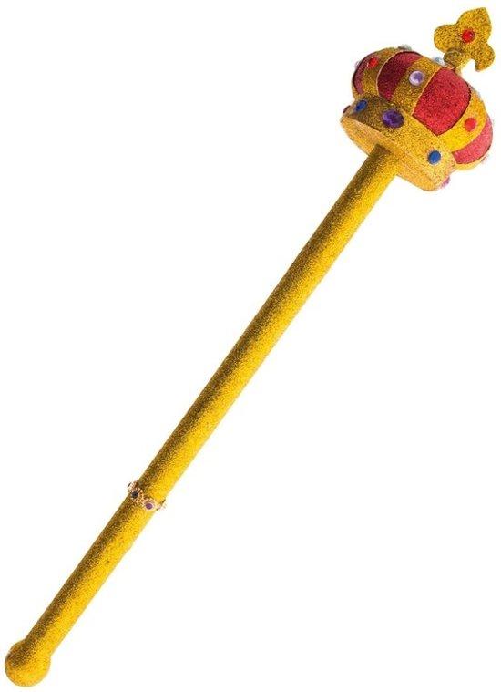 Gouden scepter met kroon 55 cm