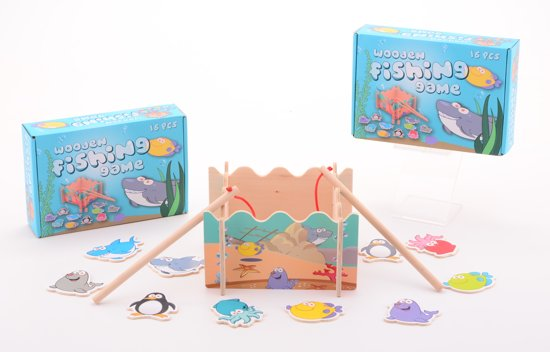 Afbeelding van het spel Houten visspel met hengels - 16-Delig