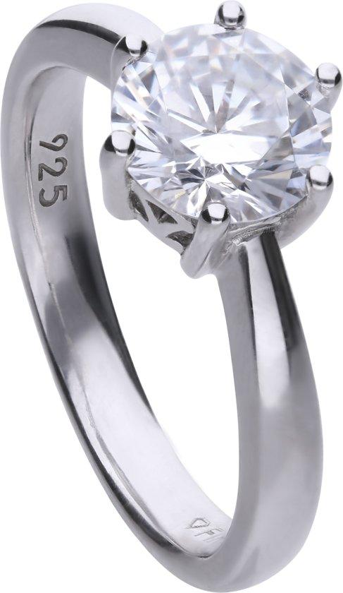 Diamonfire - Zilveren ring met steen Maat 18.5 - Steenmaat 8 mm - Chatonzetting