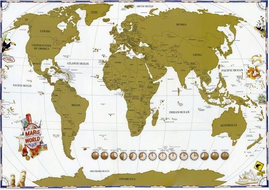 Kras Wereldkaart Luxe Large Scratch kaart-61x91.5cm