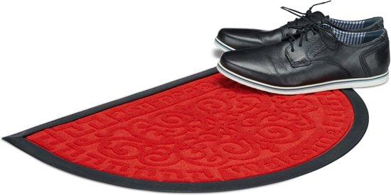 relaxdays deurmat rubber - Welcome Goodbye - halfronde voetmat - schoonloopmat 40 x 60 cm rood