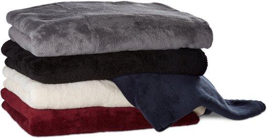 Fleece Deken Groot.Relaxdays Fleece Deken Plaid Kleed Polyester Verschillende Kleuren
