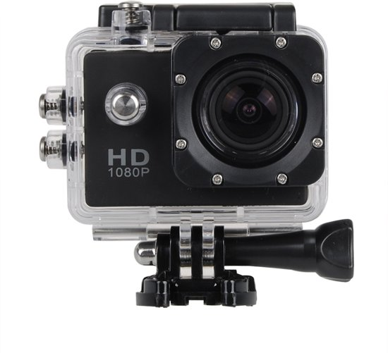 Sports FULL HD Camera DV (waterresistant) 1080p Actioncam + 12 Accessoires  - Zwart