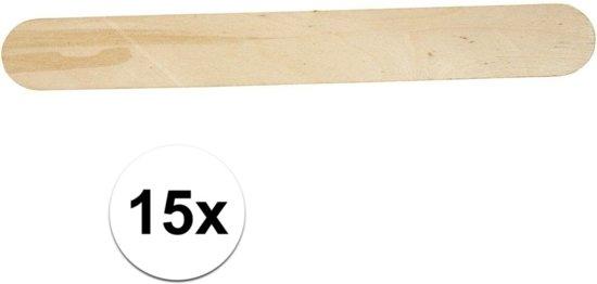 15x Grote naturel ijsstokjes knutselhoutjes 20 x 2,5 cm - Hobbymateriaal/knutselmateriaal - IJslolliestokjes groot