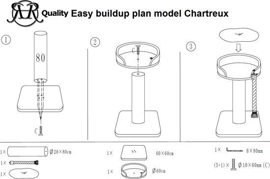 Krabpaal Chartreux Bruin voor grote en zware katten van RHRQuality