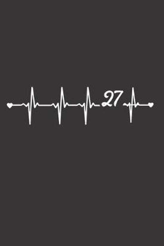 Mein 27. Geburtstag: 120 Seiten leeres kariertes Notizbuch zum Verschenken f�r M�nner - Perfekt als Geburtstagsgeschenk mit Herzschlag Moti