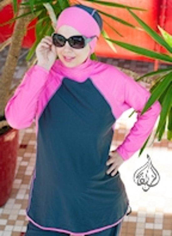 Burkini Islamitisch Zwempak Laguna Gray Pink Burqini imanedesign.com