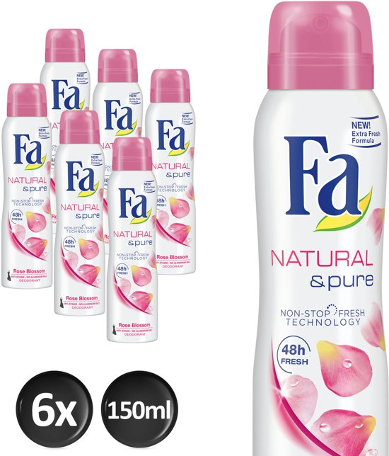 Fa Deospray Natural And Pure Rose - 6 x 150 ml -  Voordeelverpakking