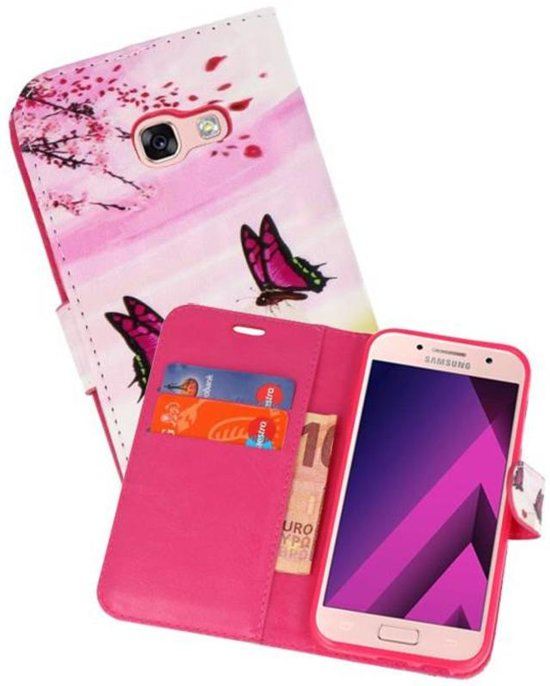 Bookstyle Hoesje voor Galaxy A3 2017 3D Print Vlinder
